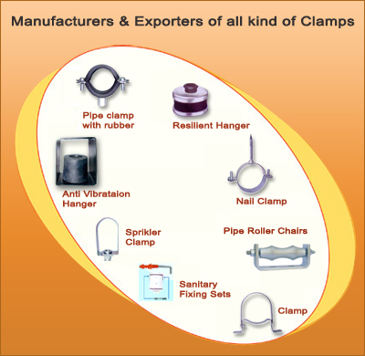 Pipe Fitting Clamps, Clamp, Sanitary Fitting, Anti Vibration Pads, Manufacturer & Exporters of Pipe Fitting Clamps, Mumbai, India